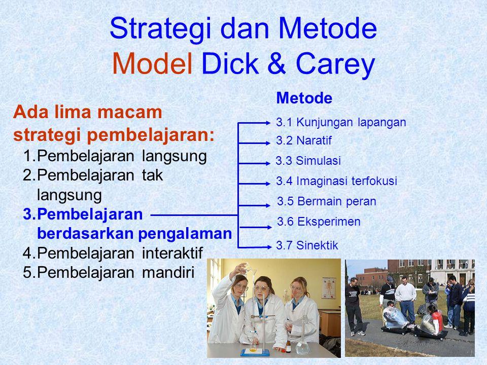Strategi dan Metode Model Dick & Carey Ada lima macam strategi pembelajaran: 1.Pembelajaran langsung 2.Pembelajaran tak langsung 3.Pembelajaran berdas