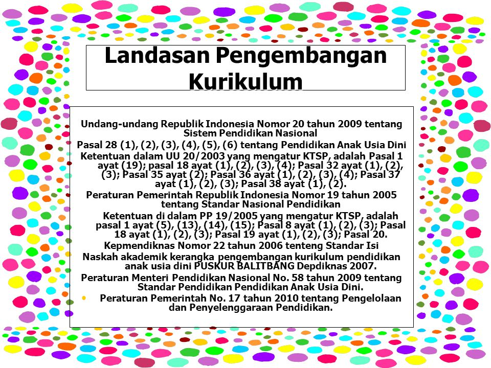 Landasan Pengembangan Kurikulum Undang-undang Republik Indonesia Nomor 20 tahun 2009 tentang Sistem Pendidikan Nasional Pasal 28 (1), (2), (3), (4), (5), (6) tentang Pendidikan Anak Usia Dini Ketentuan dalam UU 20/2003 yang mengatur KTSP, adalah Pasal 1 ayat (19); pasal 18 ayat (1), (2), (3), (4); Pasal 32 ayat (1), (2), (3); Pasal 35 ayat (2); Pasal 36 ayat (1), (2), (3), (4); Pasal 37 ayat (1), (2), (3); Pasal 38 ayat (1), (2).