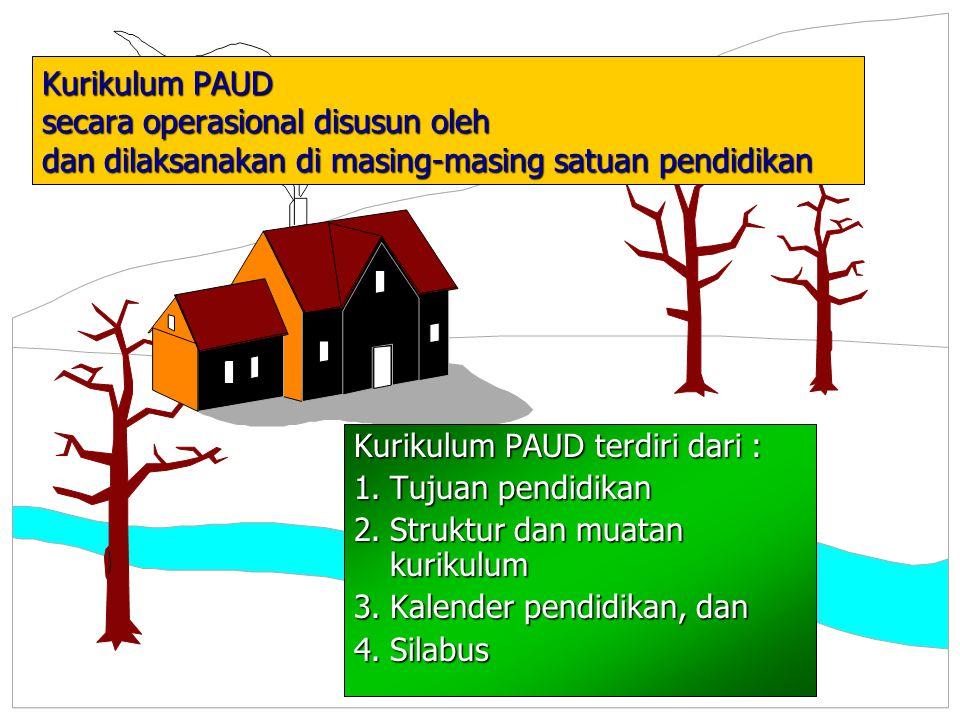 Kurikulum PAUD secara operasional disusun oleh dan dilaksanakan di masing-masing satuan pendidikan Kurikulum PAUD terdiri dari : 1.Tujuan pendidikan 2.Struktur dan muatan kurikulum 3.Kalender pendidikan, dan 4.Silabus