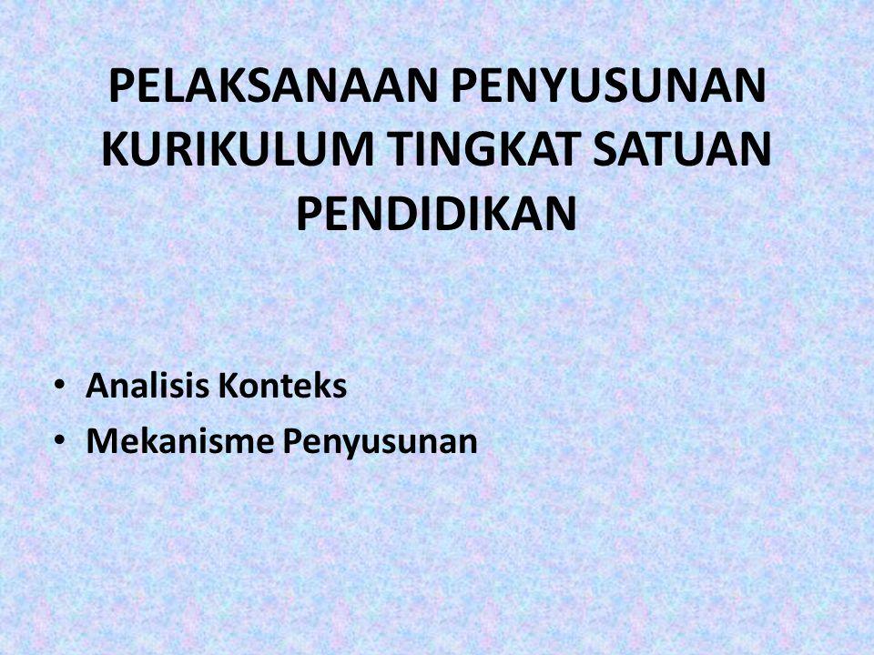 ANALISIS KONTEKS 1.Mengidentifikasi SI dan SKL sebagai acuan dalam penyusunan KTSP.