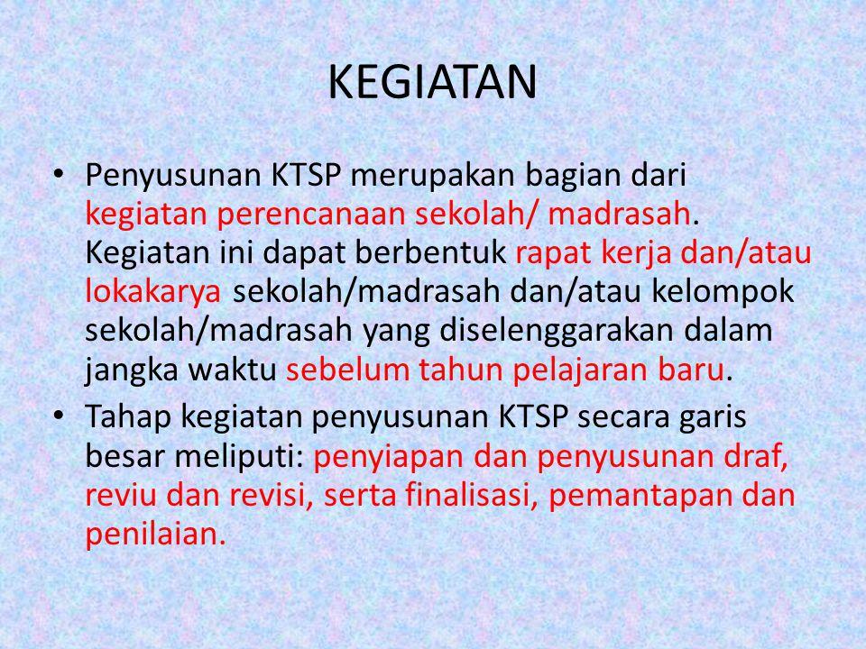 KEGIATAN Penyusunan KTSP merupakan bagian dari kegiatan perencanaan sekolah/ madrasah.