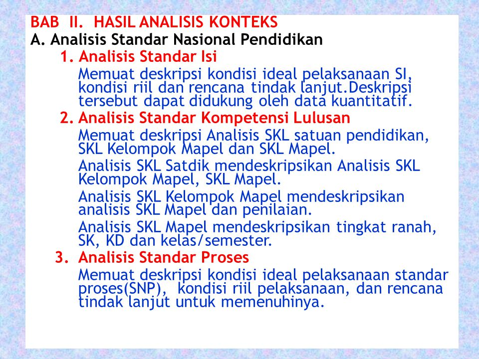 BAB II.HASIL ANALISIS KONTEKS A. Analisis Standar Nasional Pendidikan 1.
