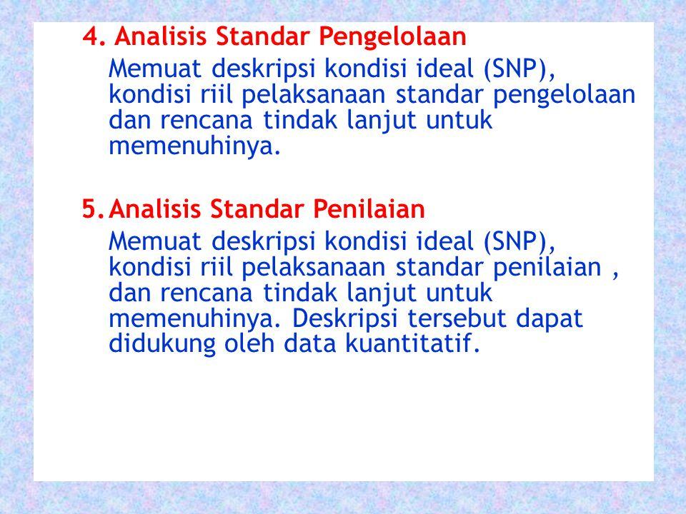 4. Analisis Standar Pengelolaan Memuat deskripsi kondisi ideal (SNP), kondisi riil pelaksanaan standar pengelolaan dan rencana tindak lanjut untuk mem