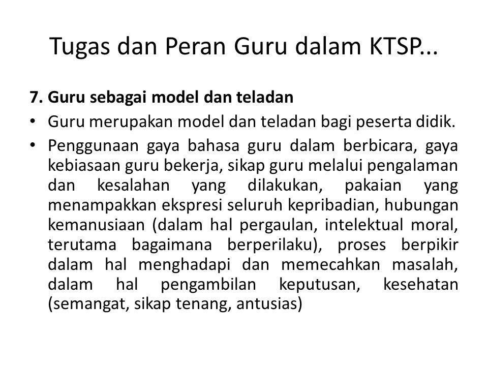 Tugas dan Peran Guru dalam KTSP... 7. Guru sebagai model dan teladan Guru merupakan model dan teladan bagi peserta didik. Penggunaan gaya bahasa guru