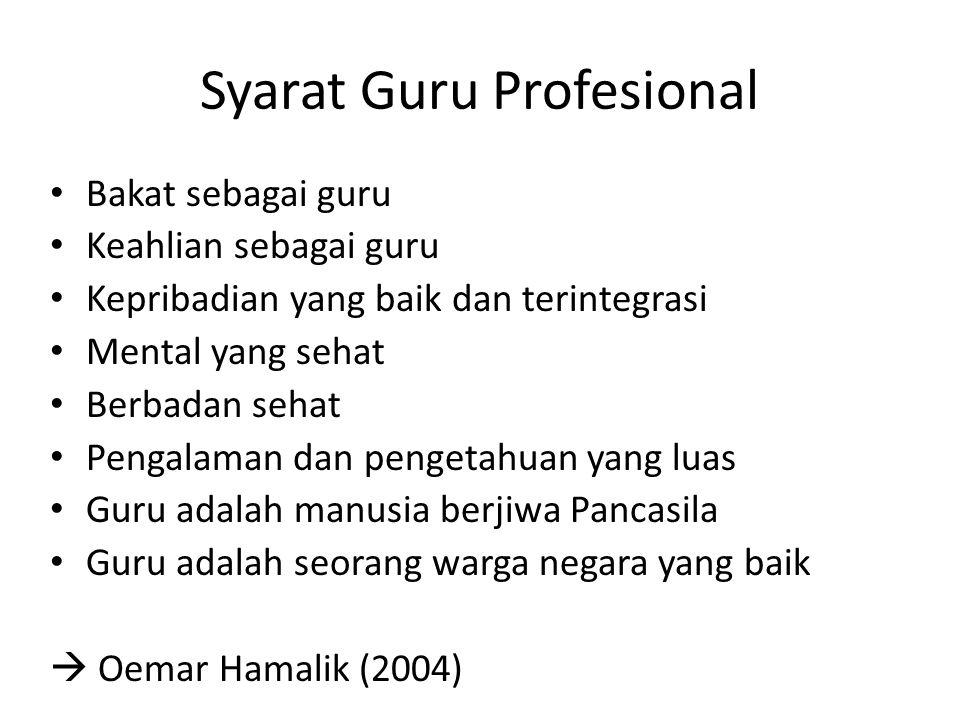 Syarat Guru Profesional Bakat sebagai guru Keahlian sebagai guru Kepribadian yang baik dan terintegrasi Mental yang sehat Berbadan sehat Pengalaman da