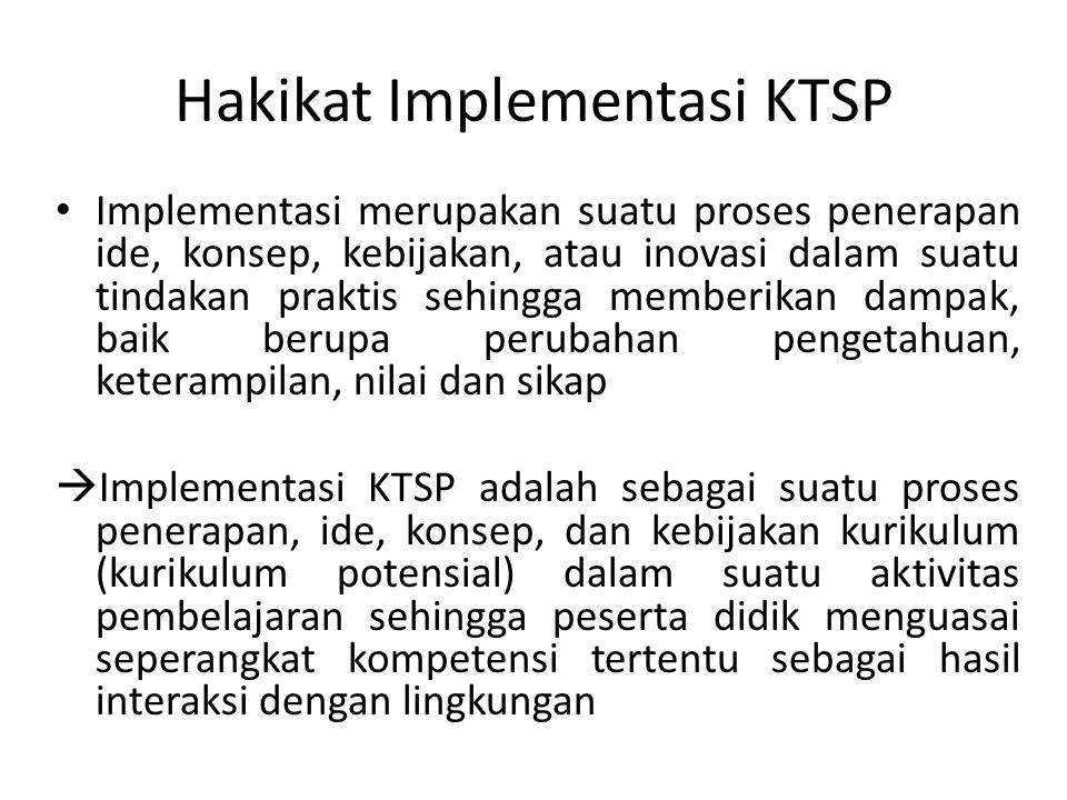 Hakikat Implementasi KTSP Implementasi merupakan suatu proses penerapan ide, konsep, kebijakan, atau inovasi dalam suatu tindakan praktis sehingga mem