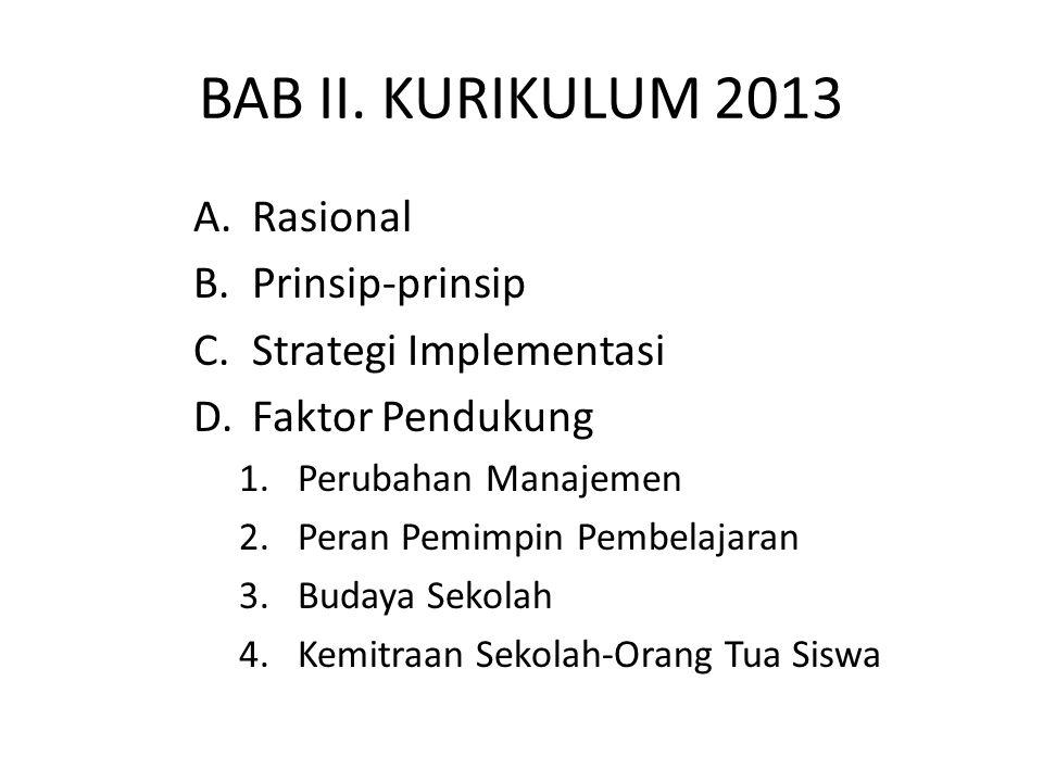 BAB II. KURIKULUM 2013 A.Rasional B.Prinsip-prinsip C.Strategi Implementasi D.Faktor Pendukung 1.Perubahan Manajemen 2.Peran Pemimpin Pembelajaran 3.B