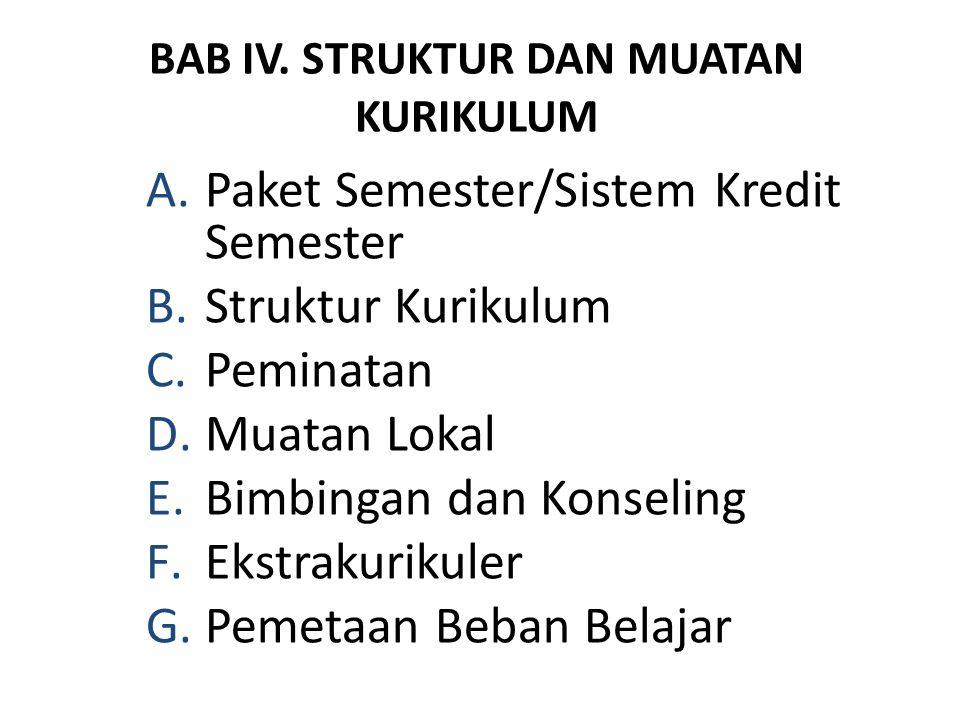 BAB IV. STRUKTUR DAN MUATAN KURIKULUM A.Paket Semester/Sistem Kredit Semester B.Struktur Kurikulum C.Peminatan D.Muatan Lokal E.Bimbingan dan Konselin