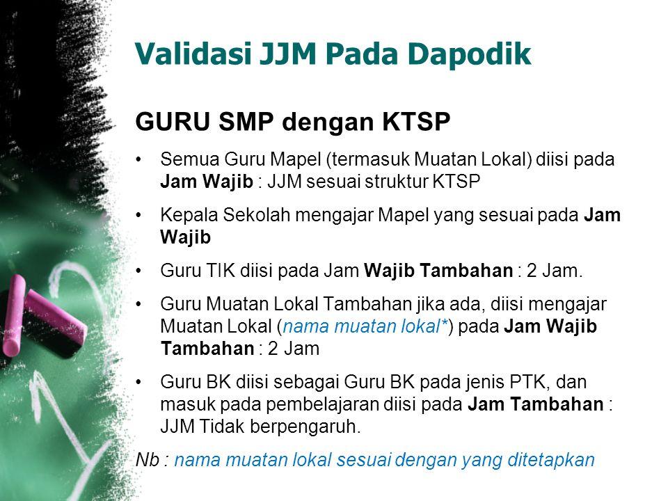 Validasi JJM Pada Dapodik GURU SMP dengan KTSP Semua Guru Mapel (termasuk Muatan Lokal) diisi pada Jam Wajib : JJM sesuai struktur KTSP Kepala Sekolah