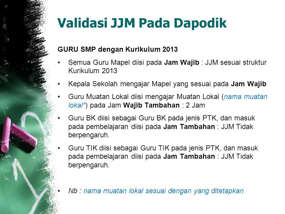 Validasi JJM Pada Dapodik GURU SMP dengan Kurikulum 2013 Semua Guru Mapel diisi pada Jam Wajib : JJM sesuai struktur Kurikulum 2013 Kepala Sekolah men