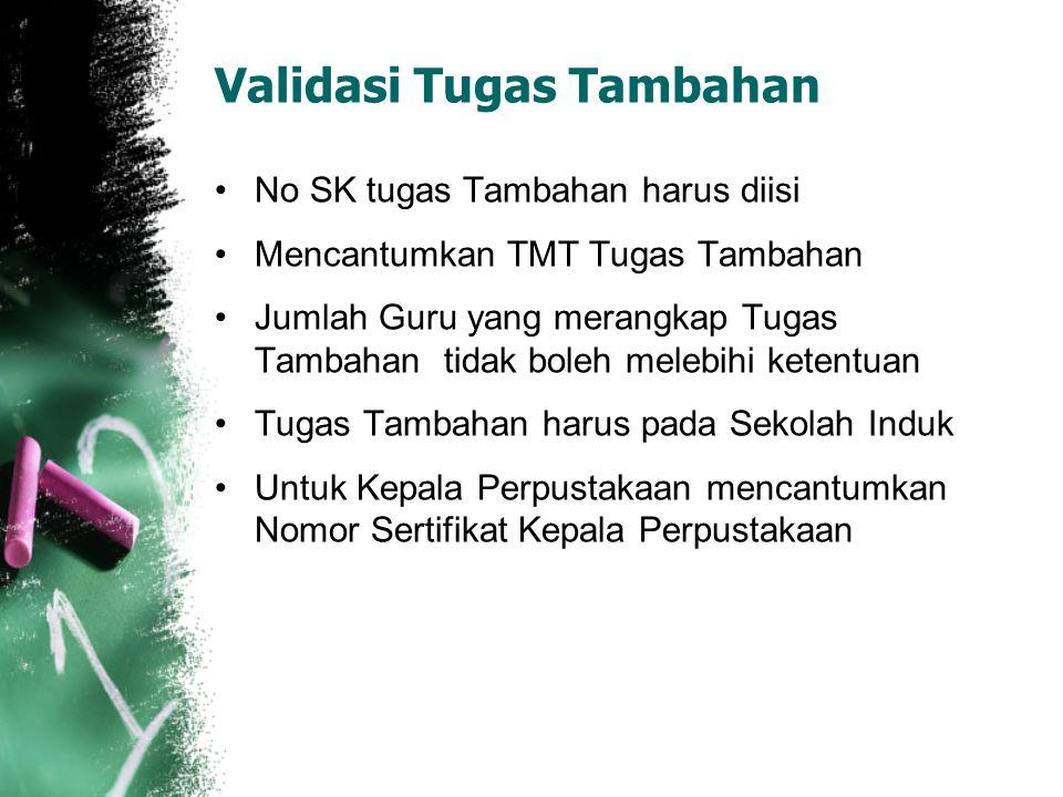 Validasi Tugas Tambahan No SK tugas Tambahan harus diisi Mencantumkan TMT Tugas Tambahan Jumlah Guru yang merangkap Tugas Tambahan tidak boleh melebih