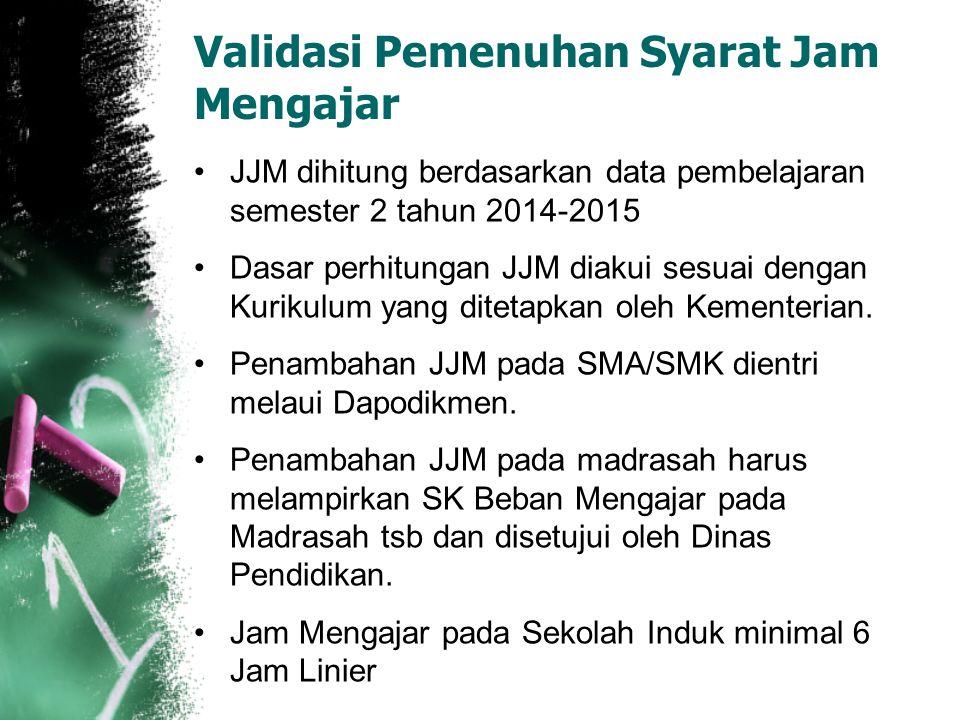 Validasi Pemenuhan Syarat Jam Mengajar JJM dihitung berdasarkan data pembelajaran semester 2 tahun 2014-2015 Dasar perhitungan JJM diakui sesuai denga