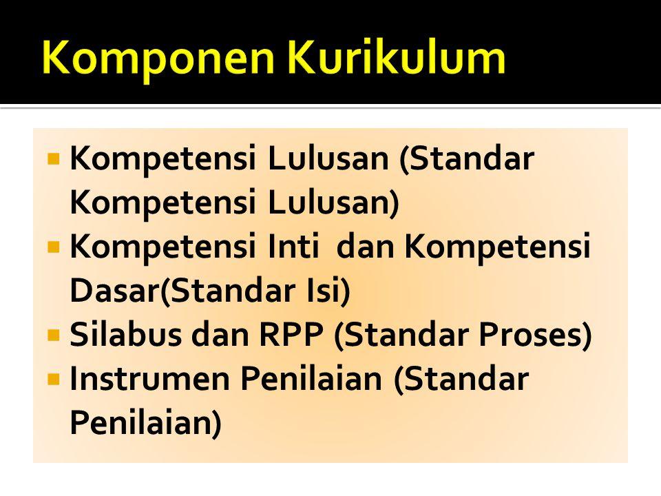  Kompetensi Lulusan (Standar Kompetensi Lulusan)  Kompetensi Inti dan Kompetensi Dasar(Standar Isi)  Silabus dan RPP (Standar Proses)  Instrumen P