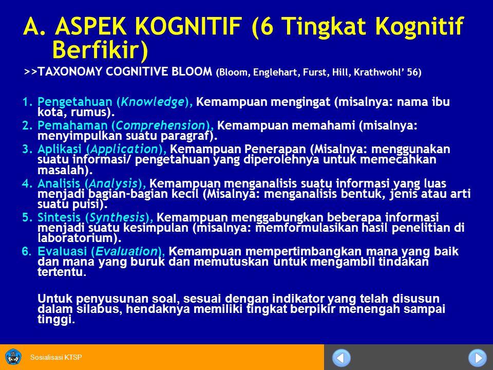 Sosialisasi KTSP A. ASPEK KOGNITIF (6 Tingkat Kognitif Berfikir) >>TAXONOMY COGNITIVE BLOOM (Bloom, Englehart, Furst, Hill, Krathwohl' 56) 1.Pengetahu