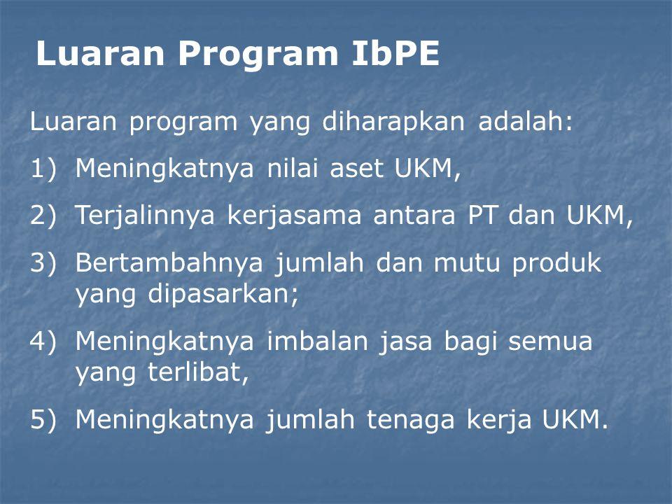 Luaran Program IbPE Luaran program yang diharapkan adalah: 1)Meningkatnya nilai aset UKM, 2)Terjalinnya kerjasama antara PT dan UKM, 3)Bertambahnya ju