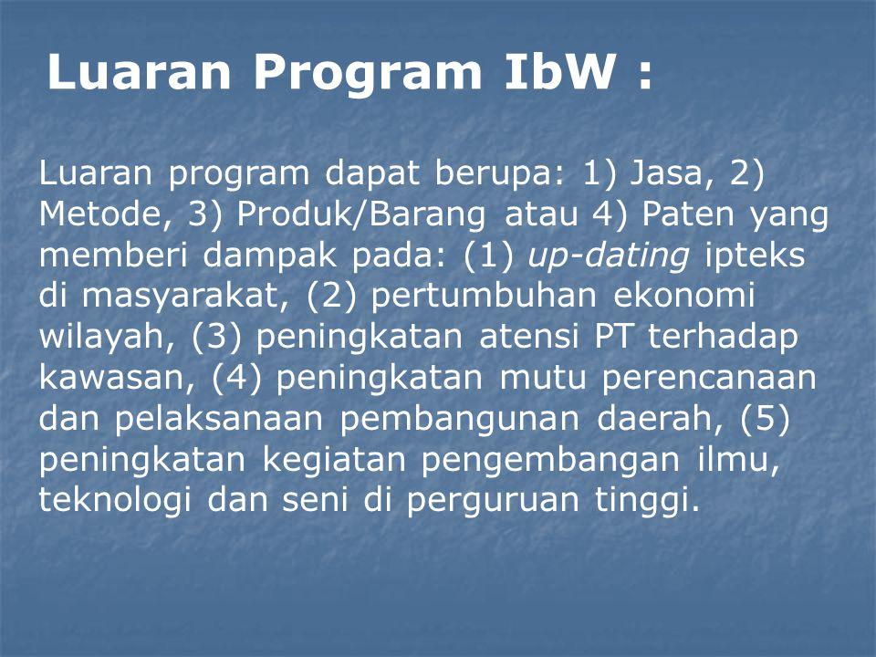 Luaran Program IbW : Luaran program dapat berupa: 1) Jasa, 2) Metode, 3) Produk/Barang atau 4) Paten yang memberi dampak pada: (1) up-dating ipteks di
