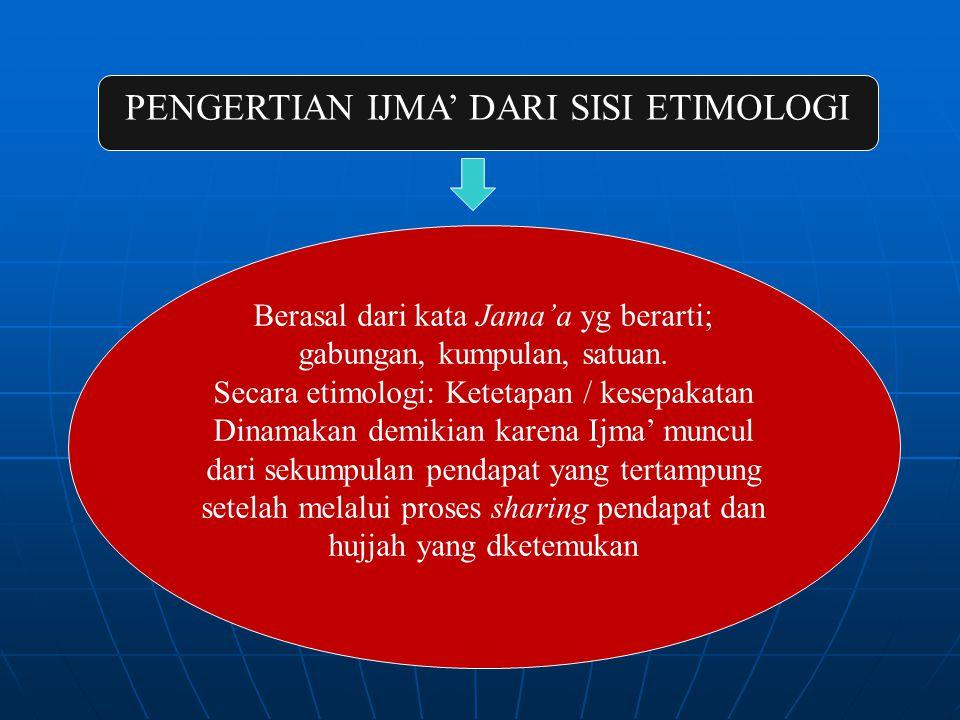 PENGERTIAN IJMA' DARI SISI ETIMOLOGI Berasal dari kata Jama'a yg berarti; gabungan, kumpulan, satuan.