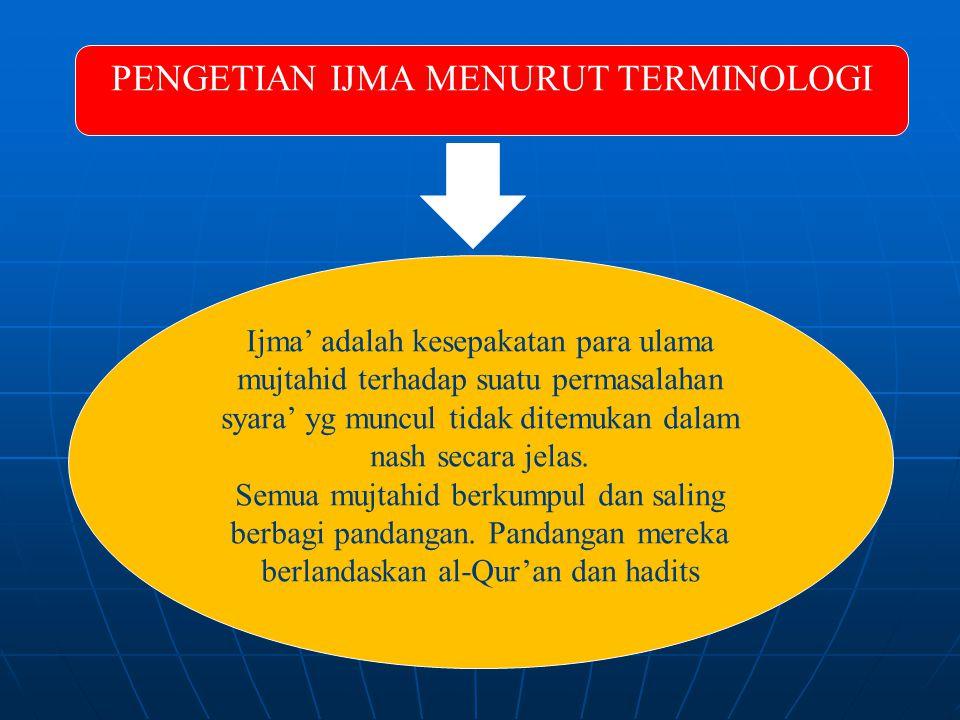 PENGETIAN IJMA MENURUT TERMINOLOGI Ijma' adalah kesepakatan para ulama mujtahid terhadap suatu permasalahan syara' yg muncul tidak ditemukan dalam nash secara jelas.