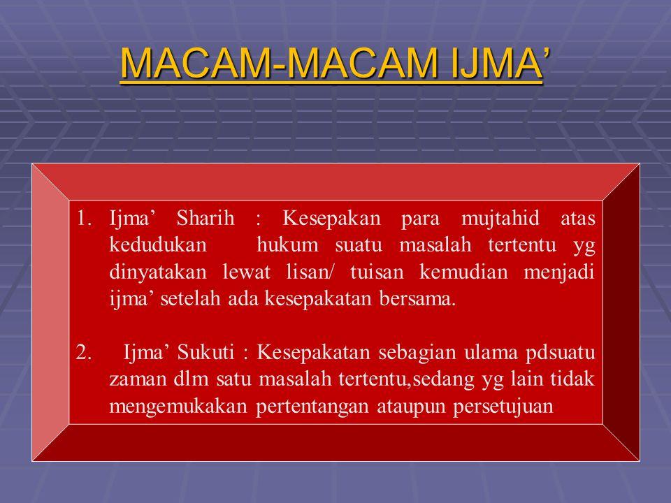 MACAM-MACAM IJMA' 1.Ijma' Sharih : Kesepakan para mujtahid atas kedudukan hukum suatu masalah tertentu yg dinyatakan lewat lisan/ tuisan kemudian menjadi ijma' setelah ada kesepakatan bersama.