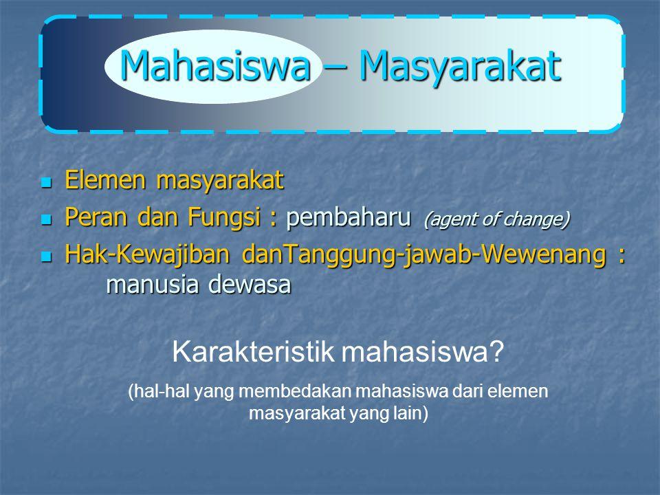 MAHASISWA : GENERASI PENERUS INSAN MUDA AKADEMIS KAUM MUDA INTELEKTUAL PRIDE/ DERAJAT TERTENTU DI MASYARAKAT AGENT OF CHANGE