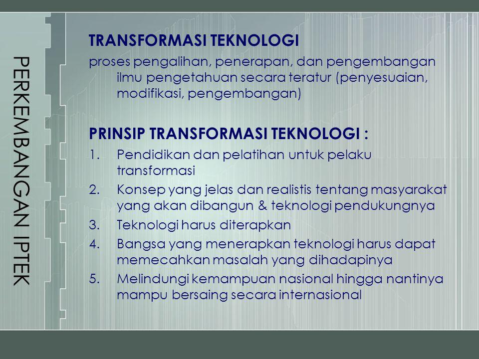 PERKEMBANGAN IPTEK TRANSFORMASI TEKNOLOGI proses pengalihan, penerapan, dan pengembangan ilmu pengetahuan secara teratur (penyesuaian, modifikasi, pen