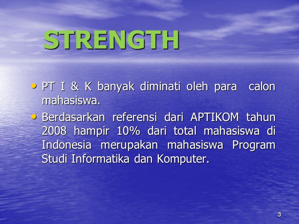 3 STRENGTH PT I & K banyak diminati oleh para calon mahasiswa.