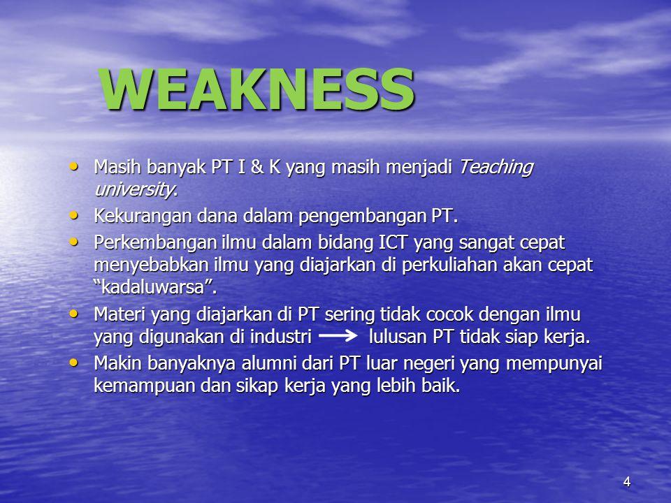 4 WEAKNESS Masih banyak PT I & K yang masih menjadi Teaching university.