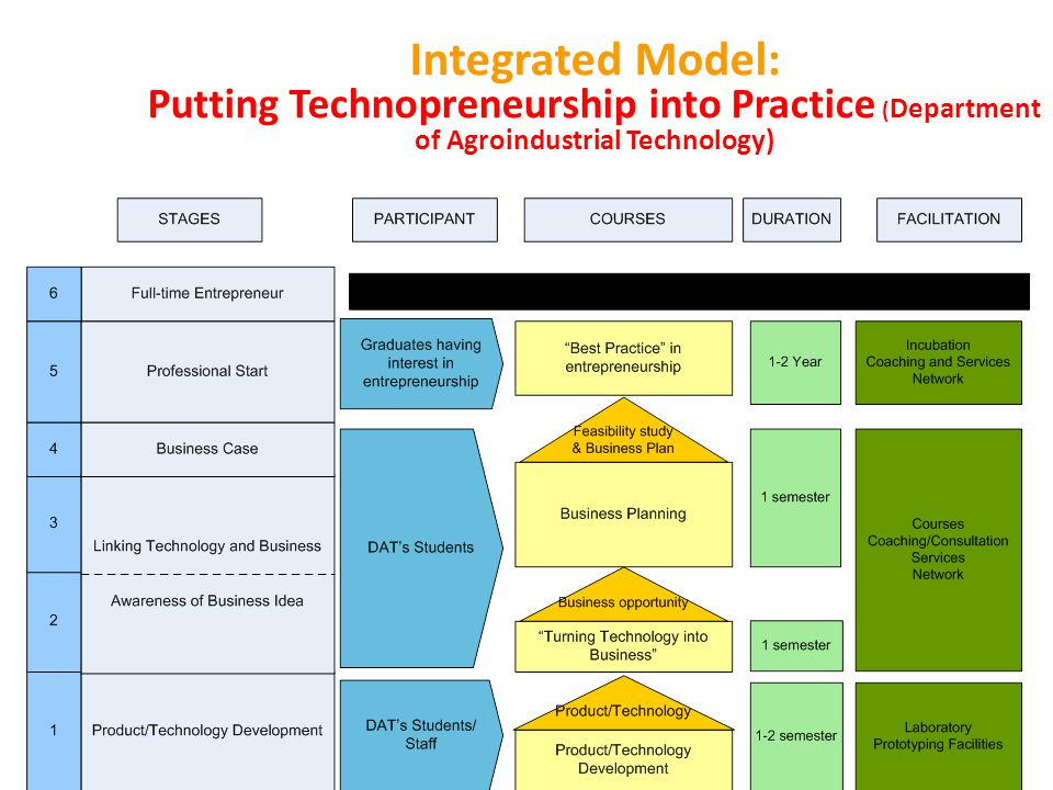 Integrated Model: Putting Technopreneurship into Practice ( Department of Agroindustrial Technology)