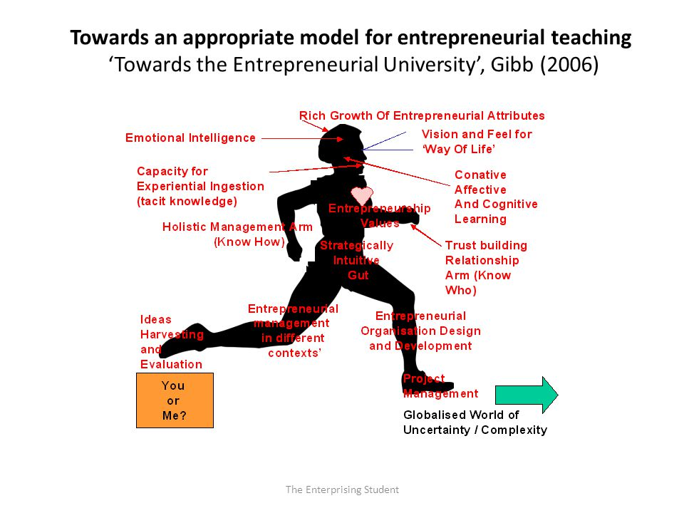 The Enterprising Student Towards an appropriate model for entrepreneurial teaching 'Towards the Entrepreneurial University', Gibb (2006)