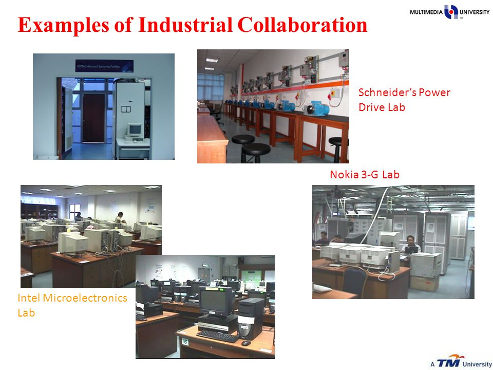 Examples of Industrial Collaboration Komag Sputtering Facilities Schneider's Power Drive Lab Nokia 3-G Lab Intel Microelectronics Lab Intel Advanced Architecture Lab