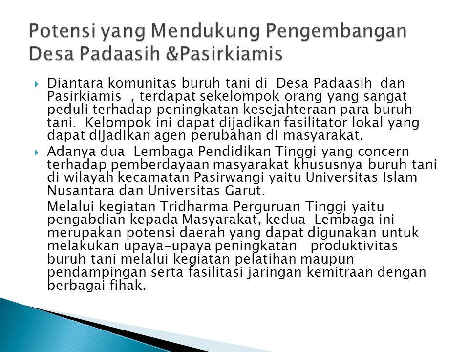  Diantara komunitas buruh tani di Desa Padaasih dan Pasirkiamis, terdapat sekelompok orang yang sangat peduli terhadap peningkatan kesejahteraan para