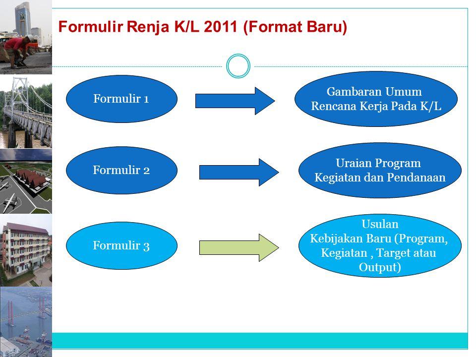 Formulir Renja K/L 2011 (Format Baru) Formulir 1 Formulir 2 Formulir 3 Gambaran Umum Rencana Kerja Pada K/L Uraian Program Kegiatan dan Pendanaan Usul