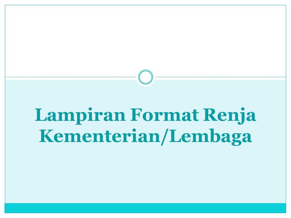 Lampiran Format Renja Kementerian/Lembaga