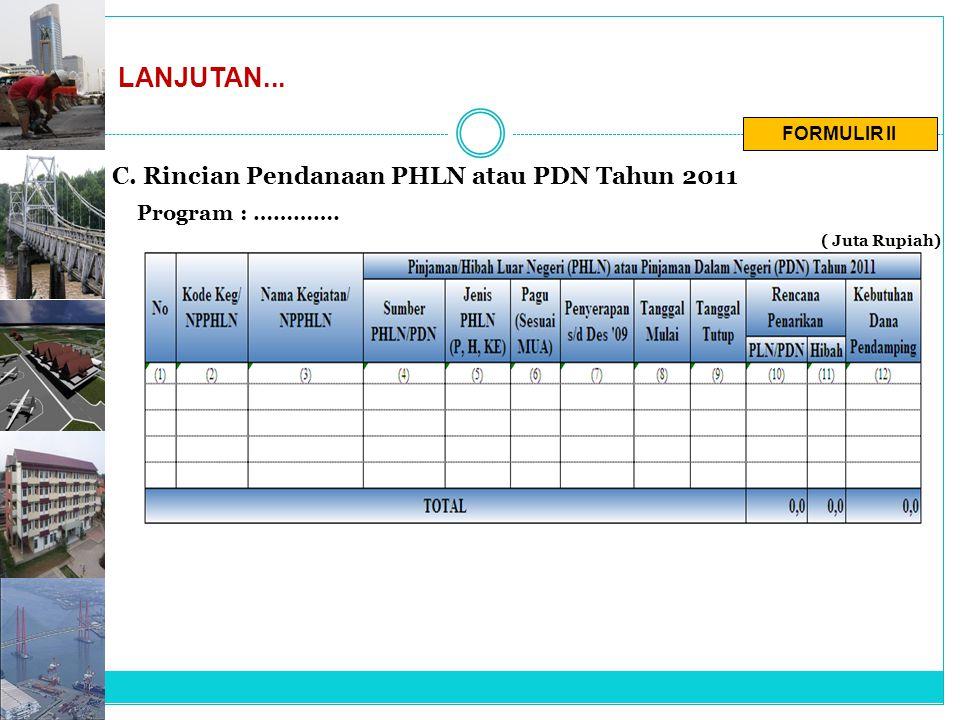 FORMULIR II LANJUTAN... C. Rincian Pendanaan PHLN atau PDN Tahun 2011 Program : …………. ( Juta Rupiah)