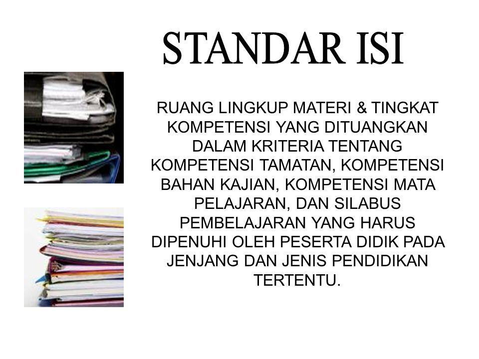 1. STANDAR ISI 2. STANDAR PROSES 3. STANDAR KOMPETENSI LULUSAN 4. STANDAR PENDIDIK & TENAGA KEPENDIDIKAN 5. STANDAR SARANA & PRASARANA 6. STANDAR PENG