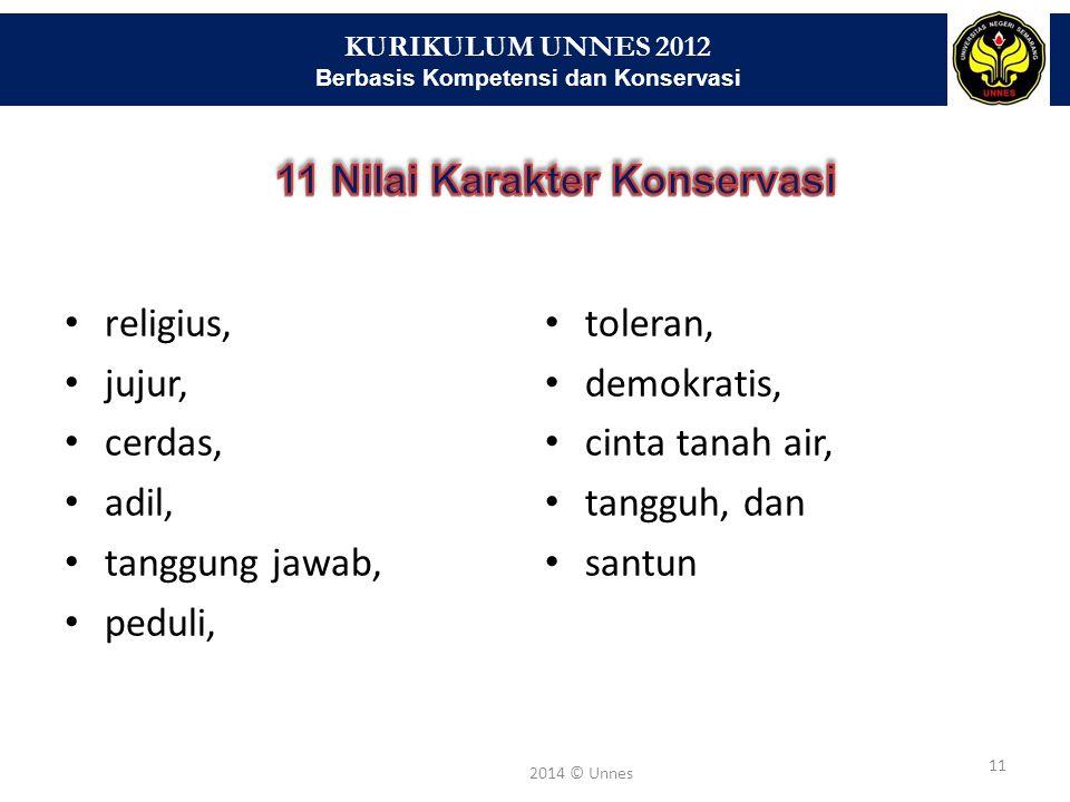 KURIKULUM UNNES 2012 Berbasis Kompetensi dan Konservasi 11 2014 © Unnes religius, jujur, cerdas, adil, tanggung jawab, peduli, toleran, demokratis, ci