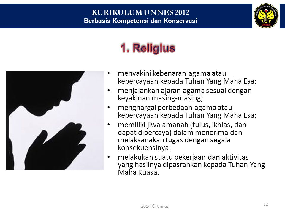 KURIKULUM UNNES 2012 Berbasis Kompetensi dan Konservasi 12 2014 © Unnes menyakini kebenaran agama atau kepercayaan kepada Tuhan Yang Maha Esa; menjala