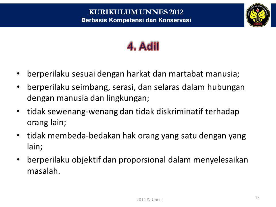 KURIKULUM UNNES 2012 Berbasis Kompetensi dan Konservasi 15 2014 © Unnes berperilaku sesuai dengan harkat dan martabat manusia; berperilaku seimbang, s