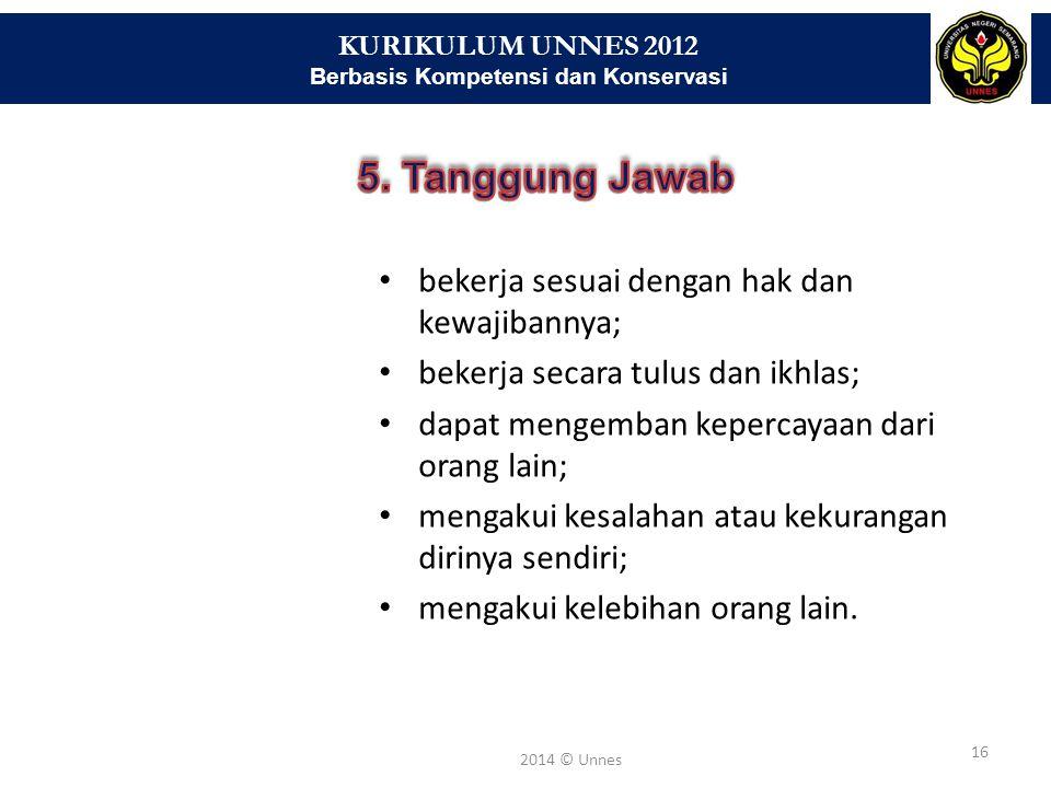 KURIKULUM UNNES 2012 Berbasis Kompetensi dan Konservasi 16 2014 © Unnes bekerja sesuai dengan hak dan kewajibannya; bekerja secara tulus dan ikhlas; d