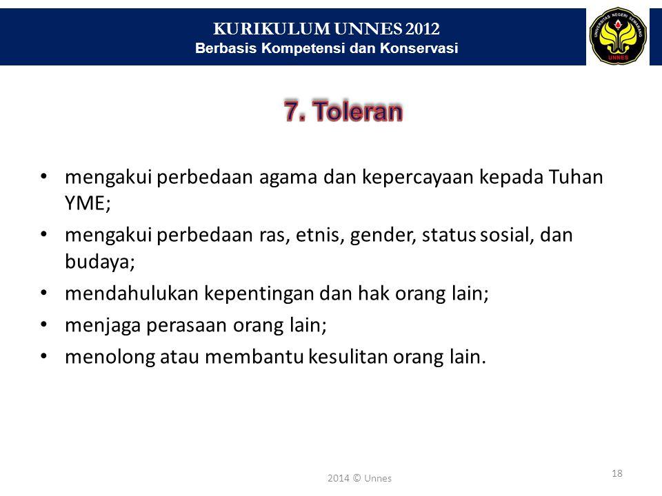 KURIKULUM UNNES 2012 Berbasis Kompetensi dan Konservasi 18 2014 © Unnes mengakui perbedaan agama dan kepercayaan kepada Tuhan YME; mengakui perbedaan