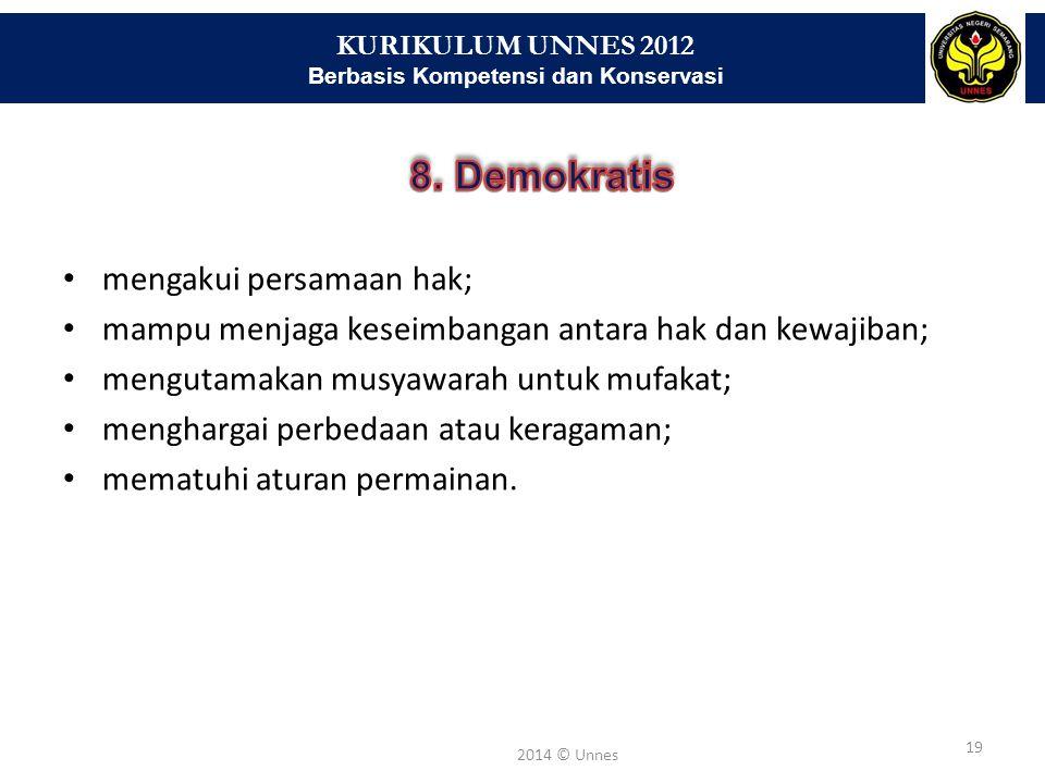 KURIKULUM UNNES 2012 Berbasis Kompetensi dan Konservasi 19 2014 © Unnes mengakui persamaan hak; mampu menjaga keseimbangan antara hak dan kewajiban; m