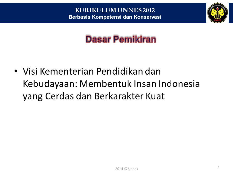 KURIKULUM UNNES 2012 Berbasis Kompetensi dan Konservasi 2 2014 © Unnes Visi Kementerian Pendidikan dan Kebudayaan: Membentuk Insan Indonesia yang Cerd