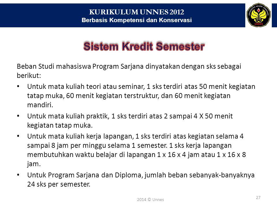 KURIKULUM UNNES 2012 Berbasis Kompetensi dan Konservasi 27 2014 © Unnes Beban Studi mahasiswa Program Sarjana dinyatakan dengan sks sebagai berikut: U