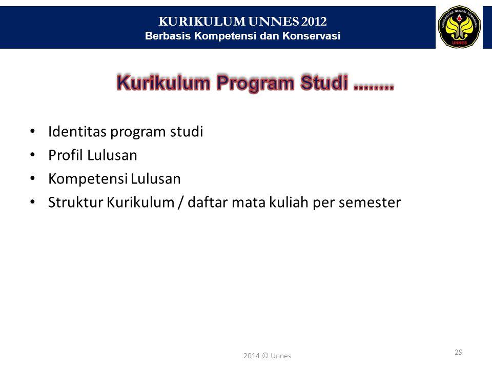 KURIKULUM UNNES 2012 Berbasis Kompetensi dan Konservasi 29 2014 © Unnes Identitas program studi Profil Lulusan Kompetensi Lulusan Struktur Kurikulum /
