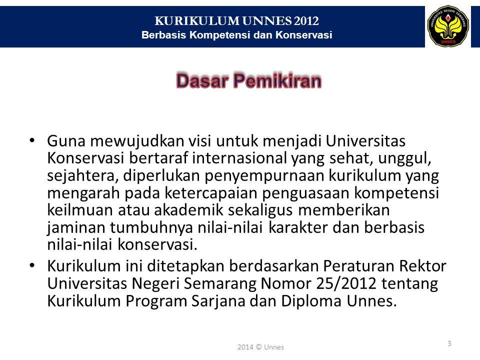 KURIKULUM UNNES 2012 Berbasis Kompetensi dan Konservasi 3 2014 © Unnes Guna mewujudkan visi untuk menjadi Universitas Konservasi bertaraf internasiona