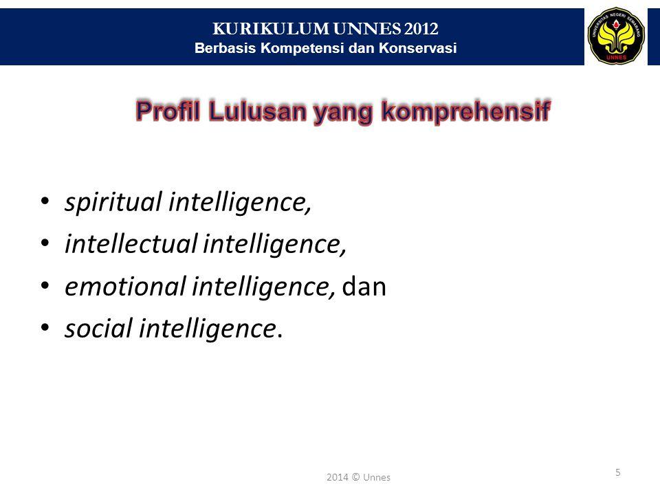 KURIKULUM UNNES 2012 Berbasis Kompetensi dan Konservasi 5 2014 © Unnes spiritual intelligence, intellectual intelligence, emotional intelligence, dan