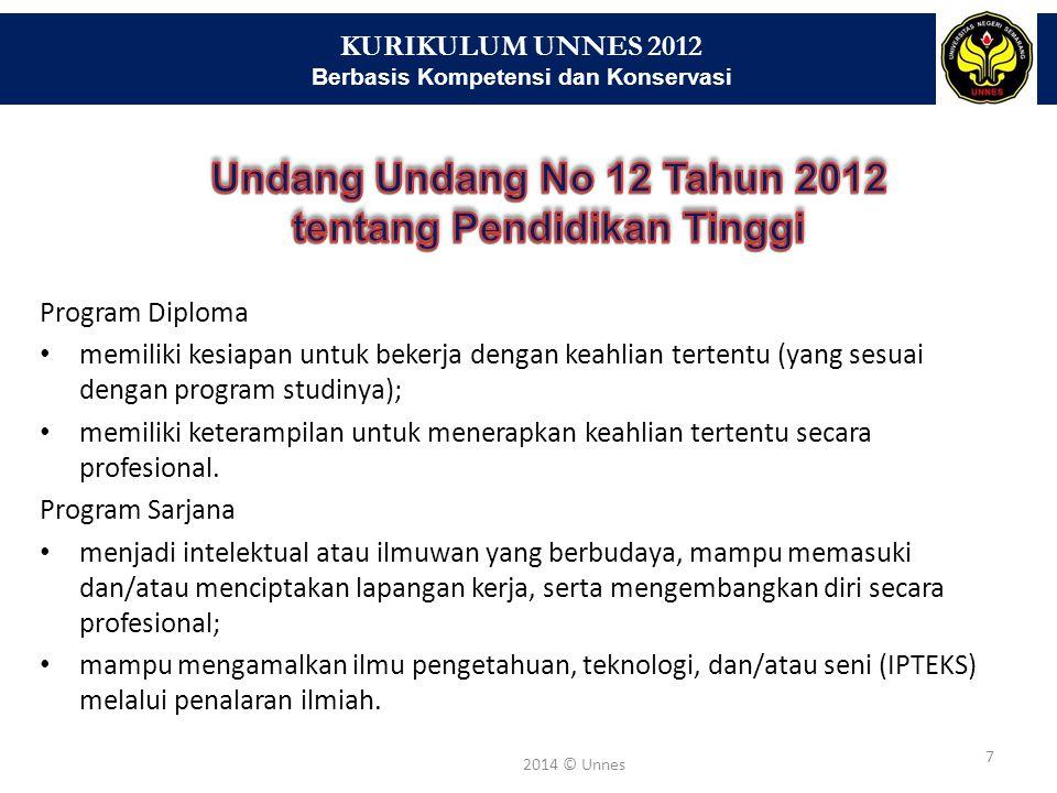 KURIKULUM UNNES 2012 Berbasis Kompetensi dan Konservasi 7 2014 © Unnes Program Diploma memiliki kesiapan untuk bekerja dengan keahlian tertentu (yang