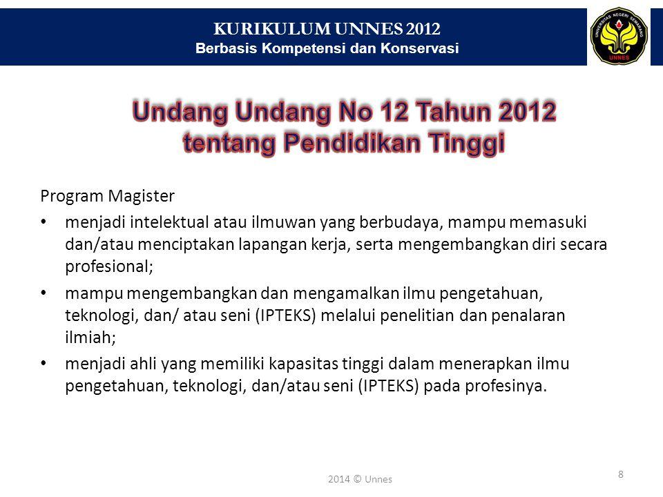 KURIKULUM UNNES 2012 Berbasis Kompetensi dan Konservasi 8 2014 © Unnes Program Magister menjadi intelektual atau ilmuwan yang berbudaya, mampu memasuk