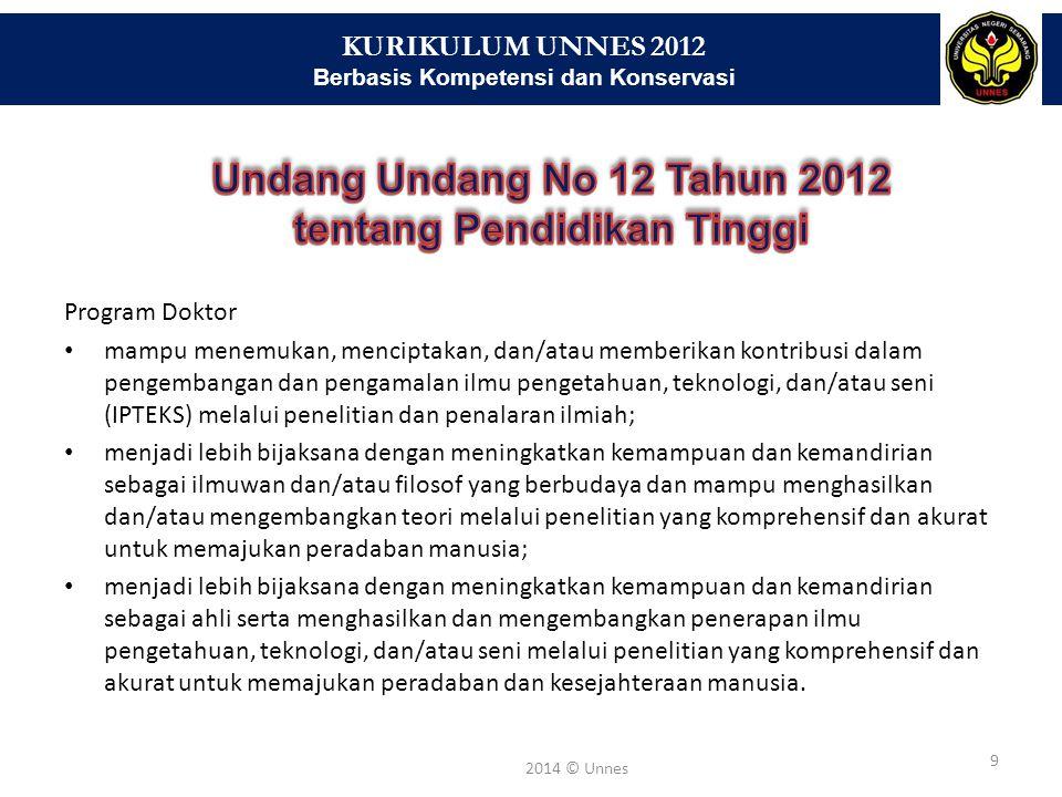 KURIKULUM UNNES 2012 Berbasis Kompetensi dan Konservasi 9 2014 © Unnes Program Doktor mampu menemukan, menciptakan, dan/atau memberikan kontribusi dal