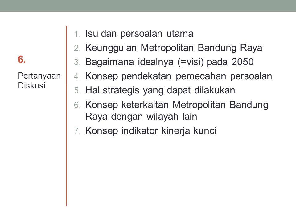 6.6. 1. Isu dan persoalan utama 2. Keunggulan Metropolitan Bandung Raya 3. Bagaimana idealnya (=visi) pada 2050 4. Konsep pendekatan pemecahan persoal